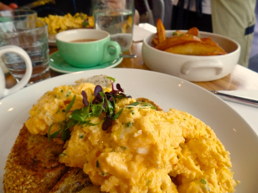 HUGE scrambled eggs in South Yarra - like we said - one eats, one drinks