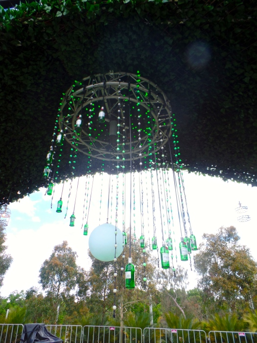 A light made out of gin bottles...