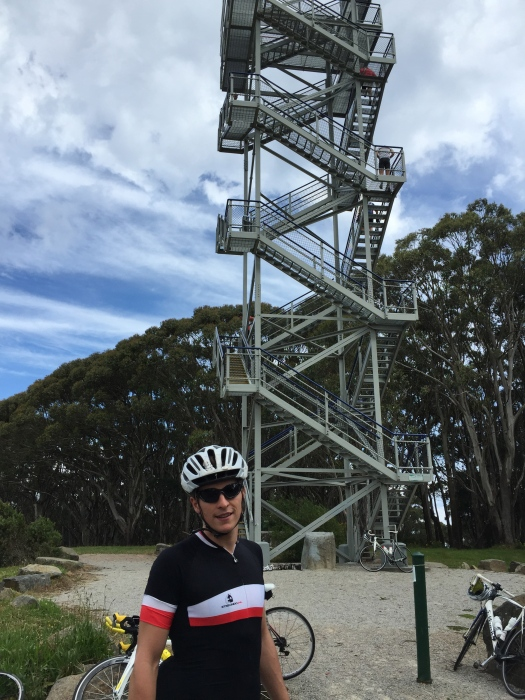 Kat may have cycled up the mountain but there wasn't a chance she was chancing this rickety viewing tower