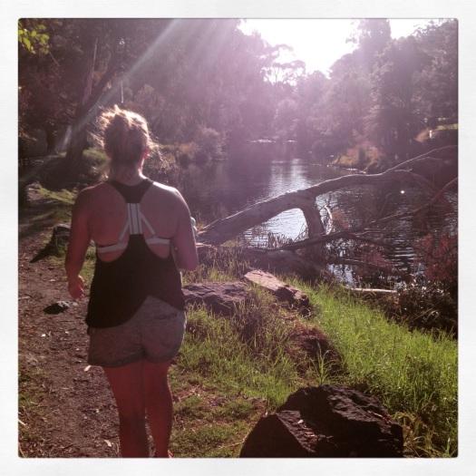 Strolling riverside in the evening sun