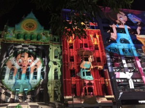 Alice in Wonderland lit up along Flinders Street