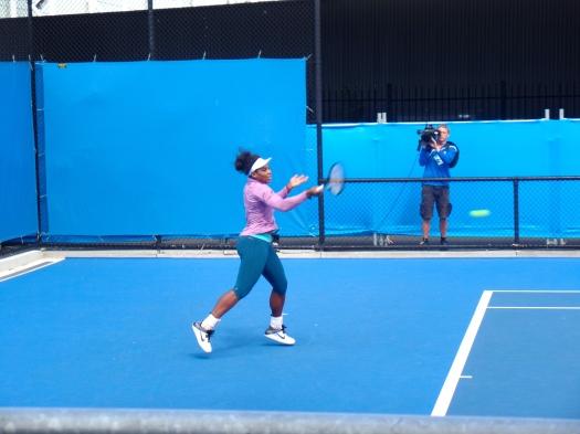 Serena warming up.