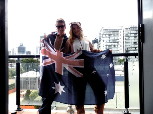 A happy kangaroo and an Aussie (ish)